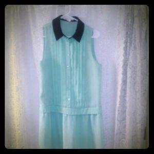 BCBG Chiffon Small Green Sleeveless Dress (S)